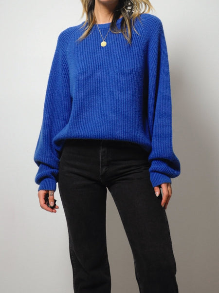 Cobalt Ribbed Slouchy Sweater