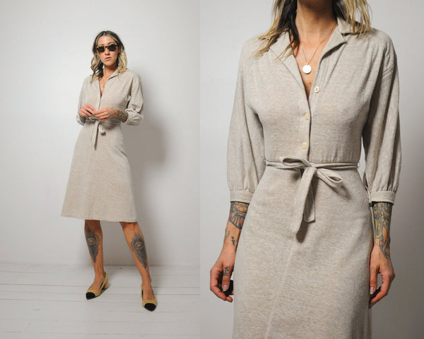 Oatmeal knit Shirt Dress