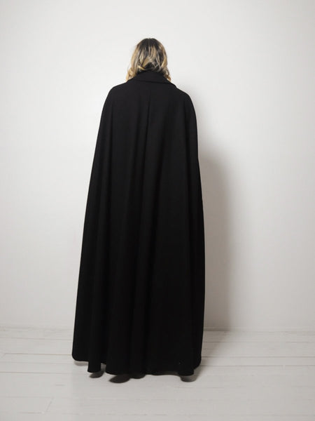 Black Valeria Wool Cape