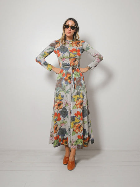 70's Goldworm Floral Dress