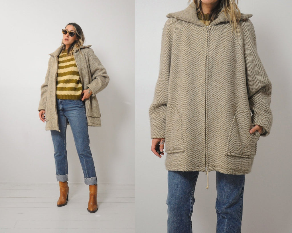Oversized Oatmeal Wool Coat