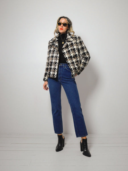 60's Wool Houndstooth Peacoat