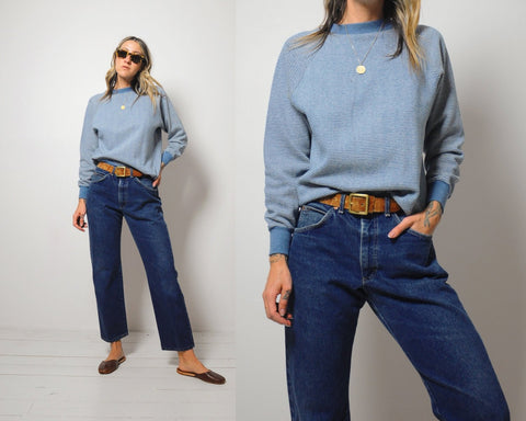 70's Blue Stripe Crewneck