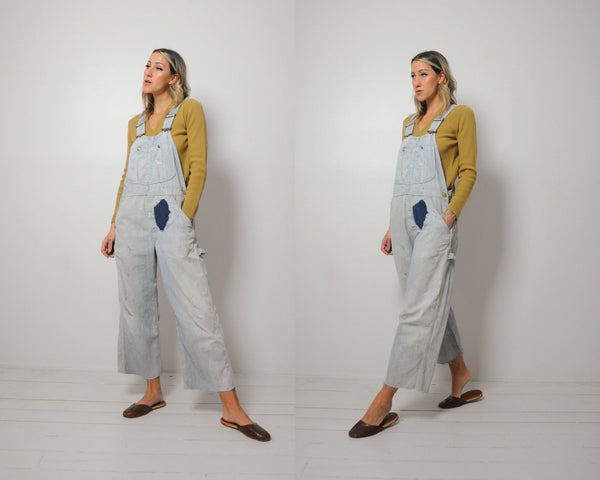 60's Lee Striped + Patched Overalls