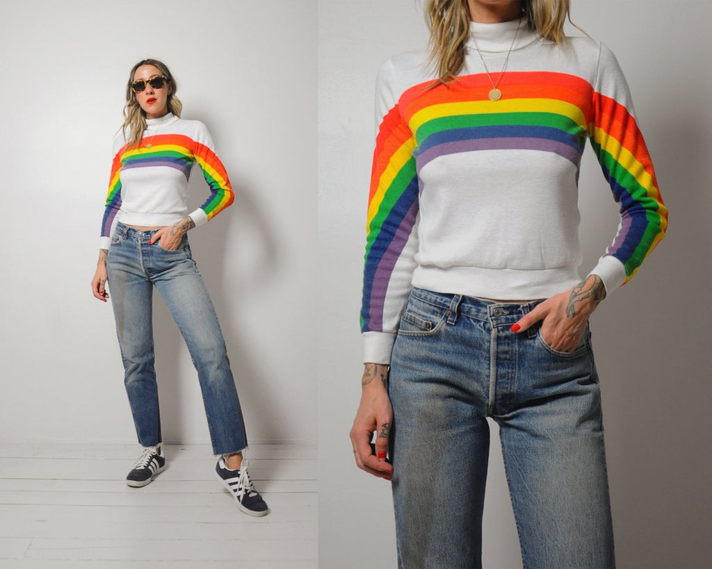 Rainbow striped turtleneck