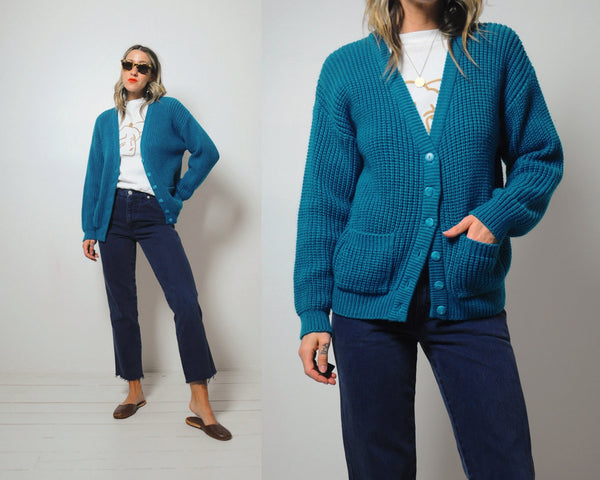 Chunky ribbed Teal Cardigan