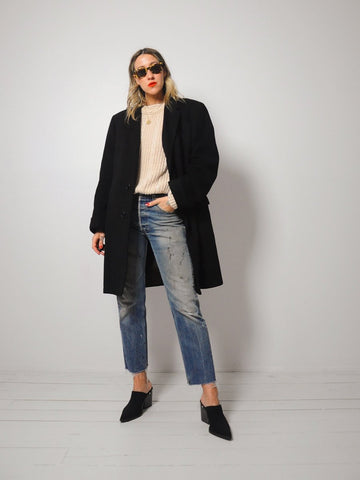 Black Cashmere Menswear Coat