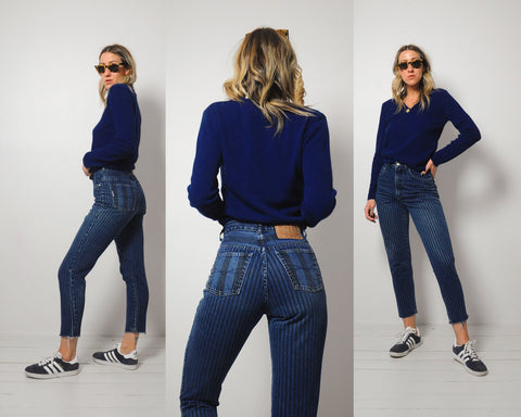 Stevie Pinstriped Jeans 25x26