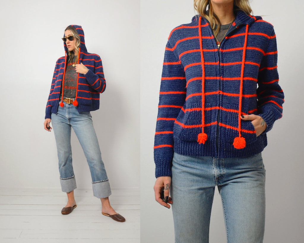 70's Stitched Sweater Hoodie
