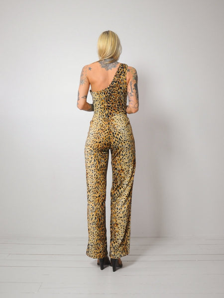 70's Leopard One Shoulder Jumpsuit