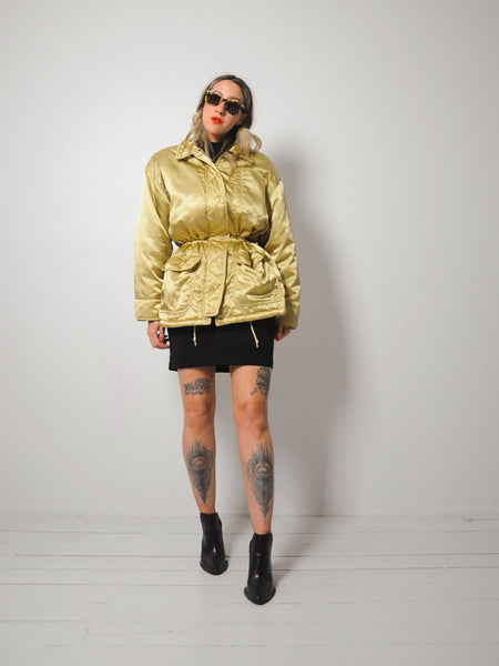 Gold Peplum Puffer Coat