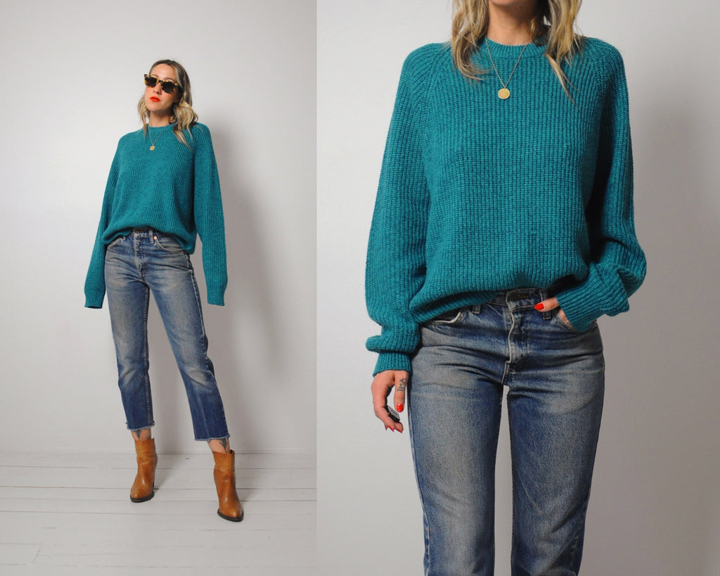 Marled Teal Ribbed Sweater
