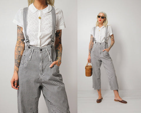 Gingham Plaid Overalls