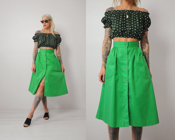 Kelly Green Pocket Skirt