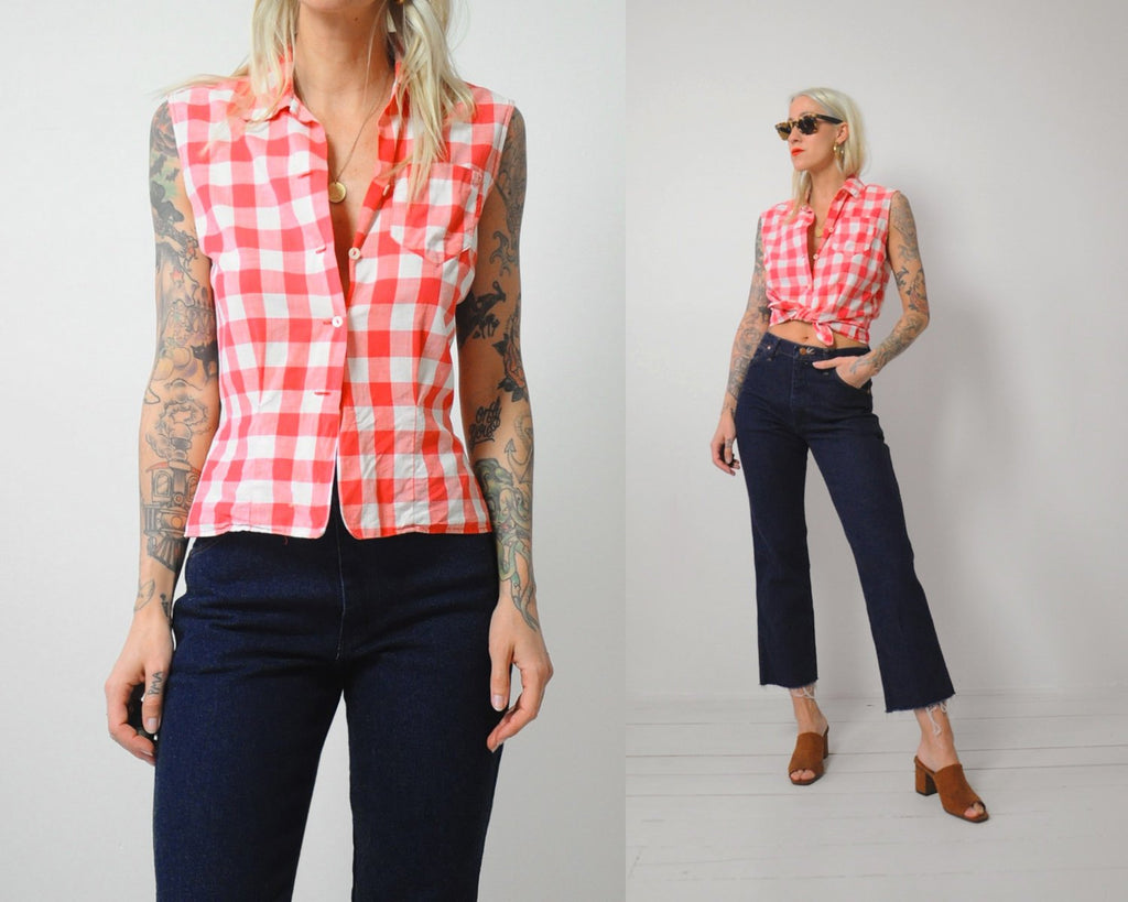 50's Thin Gingham Shirt