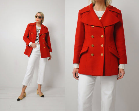 70's Red Maritime Peacoat