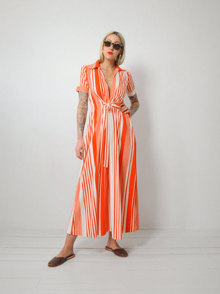 70's Tangerine Striped Jumpsuit