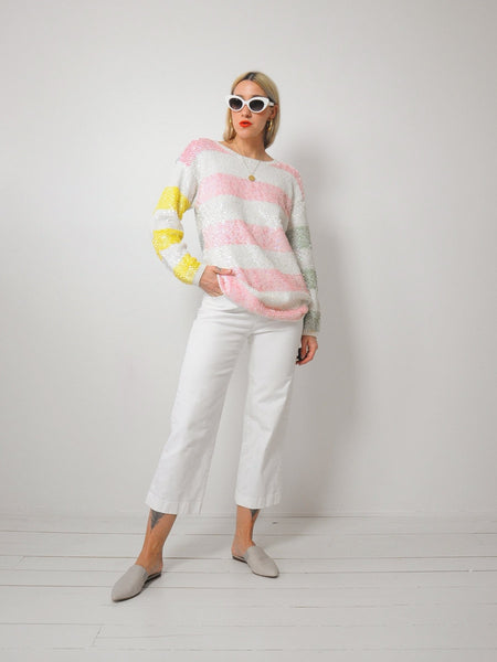 Sequined Pastel Stripe sweater