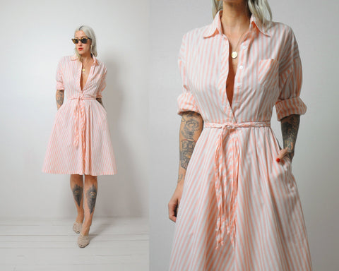 Sherbet Striped Shirt Dress