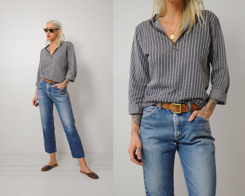 70's Pinstriped zipper Sweatshirt