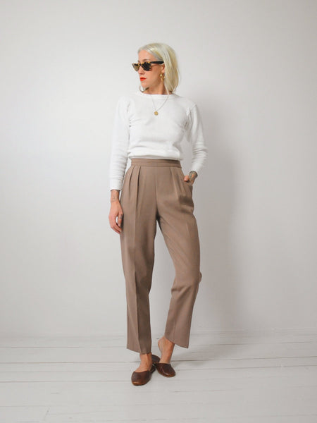 Taupe Pleated Trousers