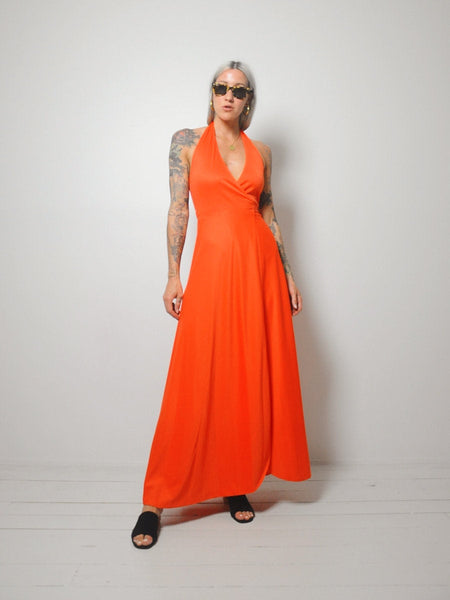 70's Tangerine Wrap Dress