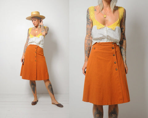 Terracotta Button Skirt