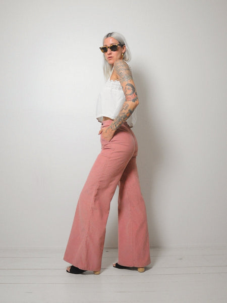 70's Dusty Rose Corduroy Flares 25x32