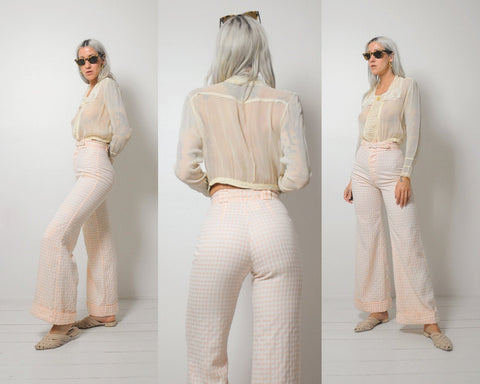 70's Peach Gingham Flares 25x30.5