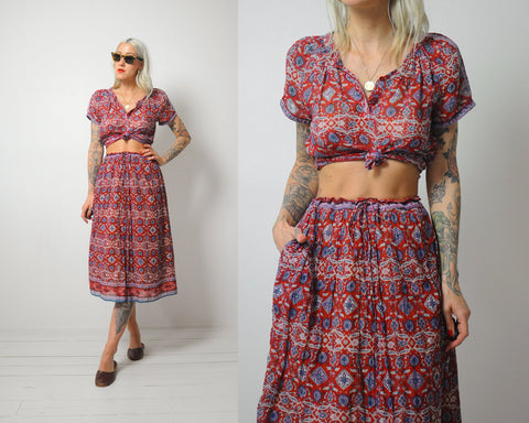 70's India Cotton Skirt Set