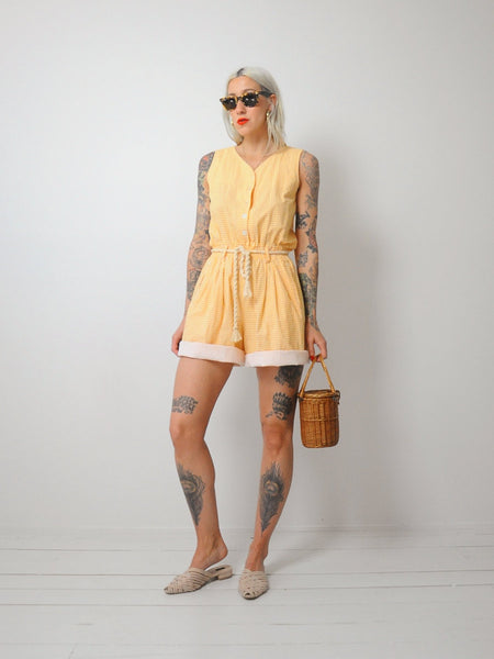 Lemon Gingham Romper