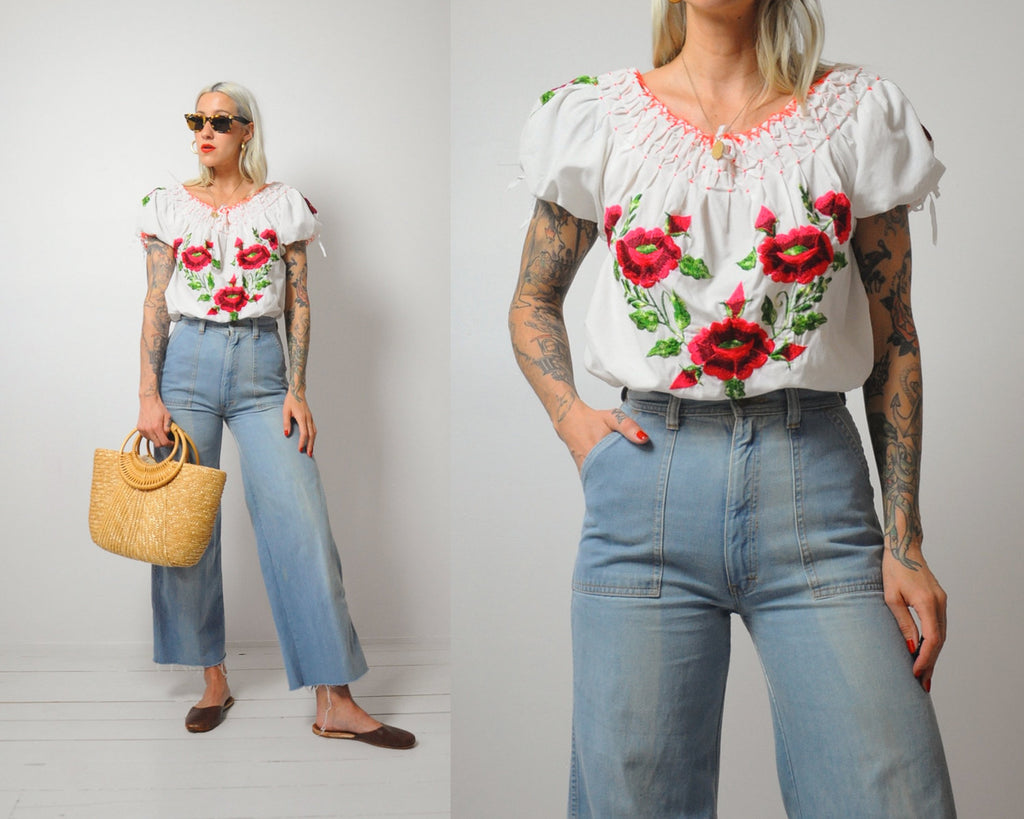 70s Embroidered Mexican blouse