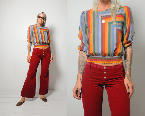 70's Rainbow Striped blouse