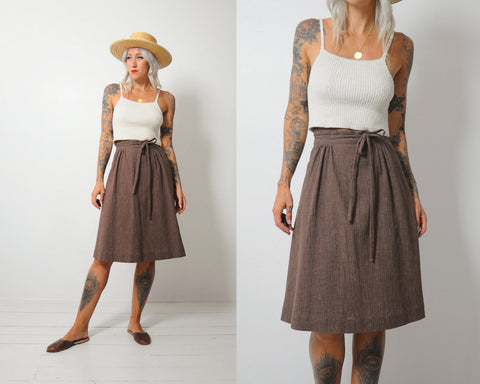 70's Coffee Wrap Skirt