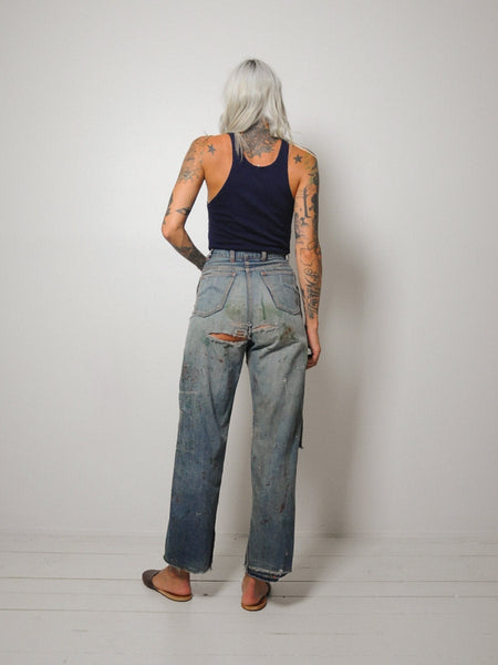 40's Painted Side Zip Jeans 26x28