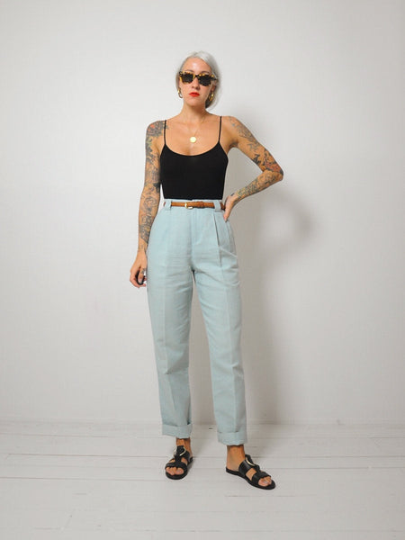 Mint Linen Trousers 26x30