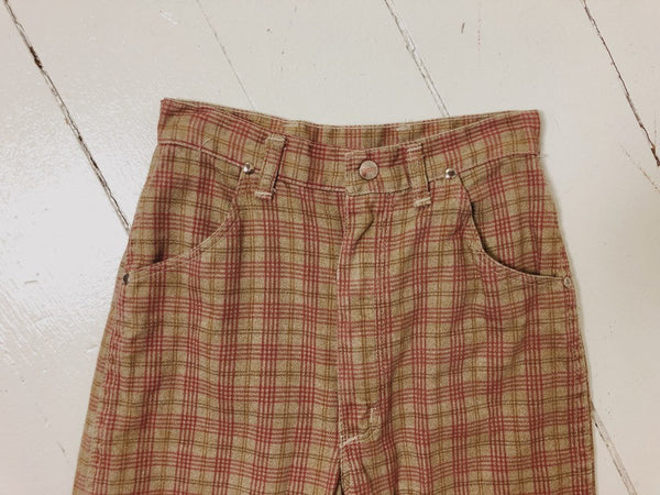 70's Plaid Cigarette Jeans 24x24