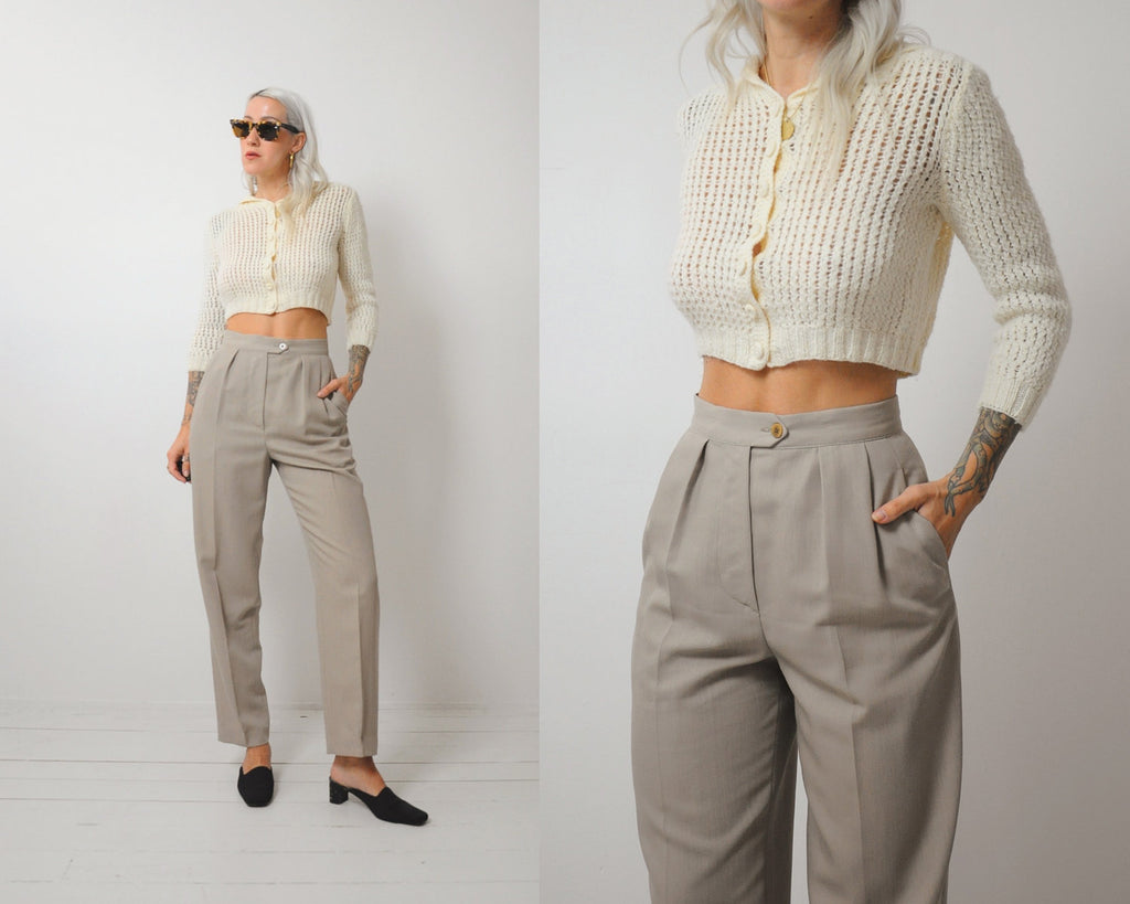 70's Cream Cropped sweater