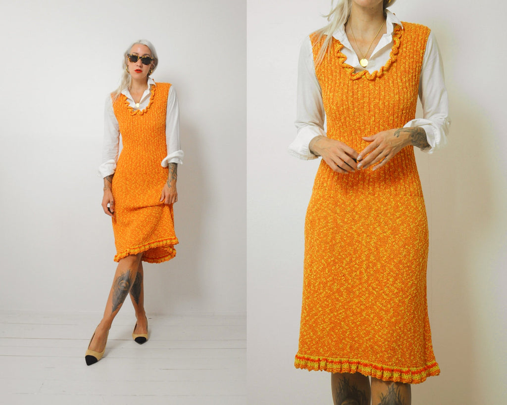 70's Pumpkin knit Sweater dress