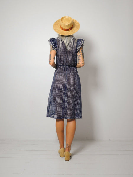 70's Polka dot Ruffle Dress