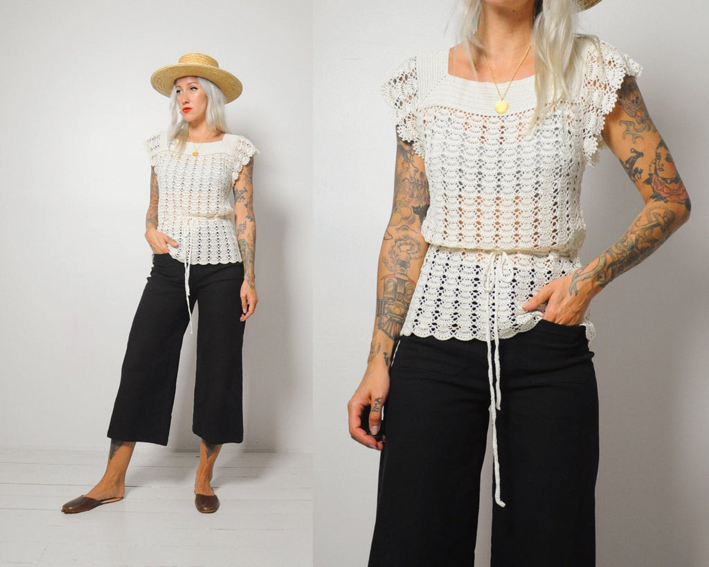 70's Almond Crochet Blouse