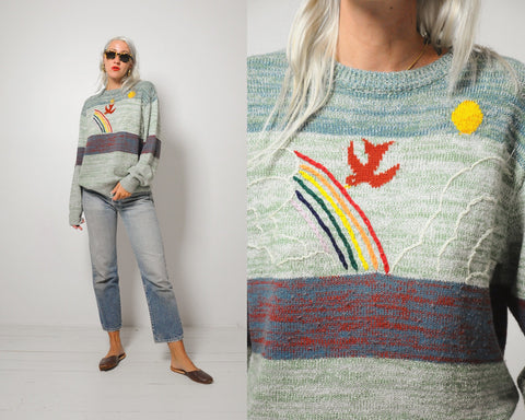 70's Dove + Rainbow Sweater