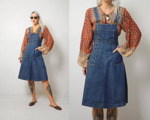 70's Eva Overall Denim Dress