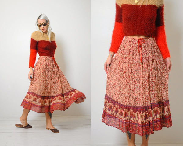 70's Drawstring India Cotton Skirt