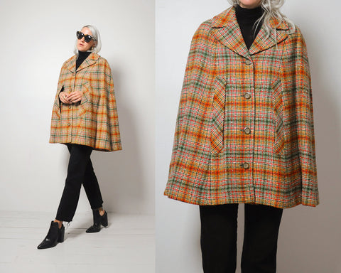 60's Pendleton Plaid Cape