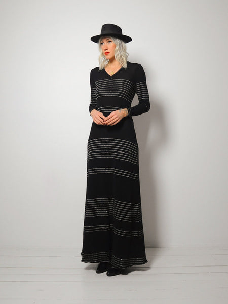 70's Metallic Stripe Knit Dress