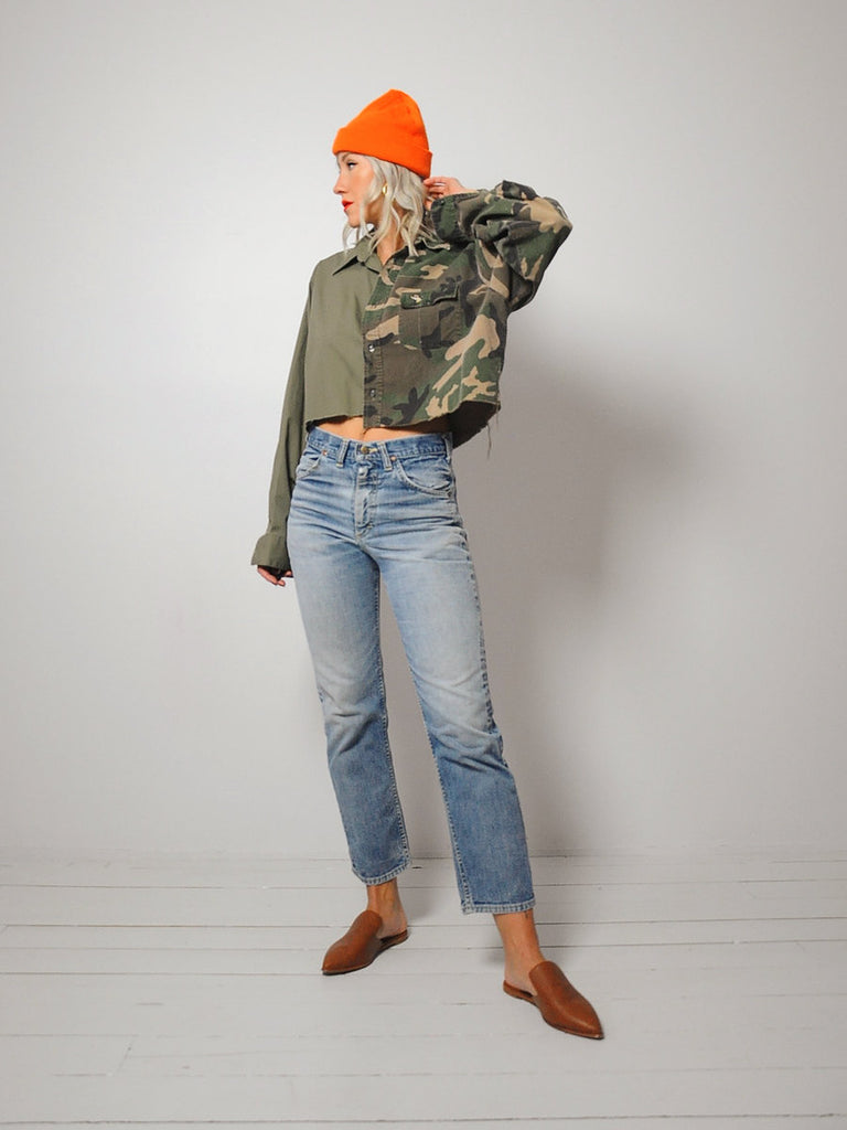 Cropped Camo Split Shirt