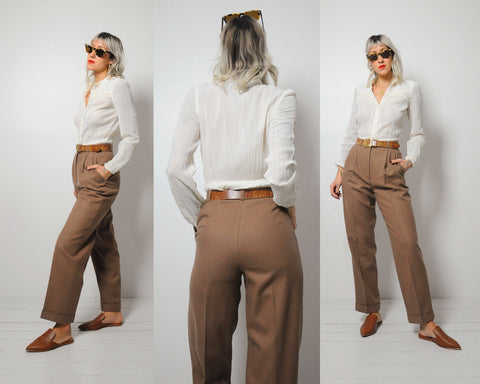 Camel Wool Trousers 25x29