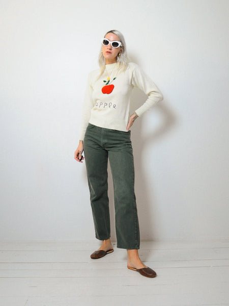 70's Embroidered Apple Sweater