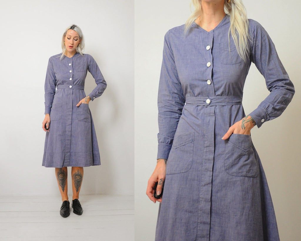 30's Chambray Nurse Dress